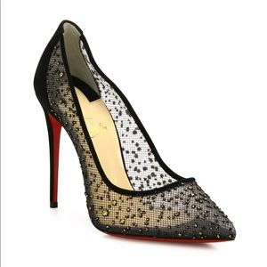 Authentic Christian Louboutin Black Mesh Heel